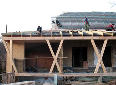Krov pultové střechy