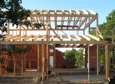 Konstrukce krovu pultové střechy